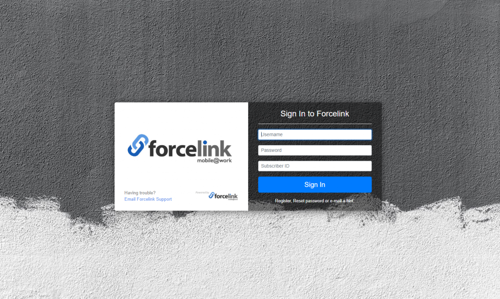 Forcelink login page - field services solutions