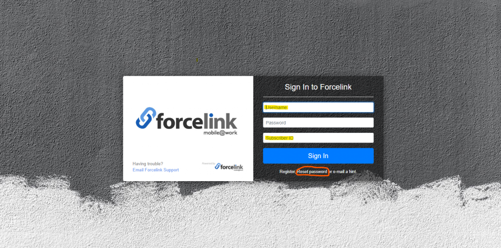 Enter credentials for access to Forcelink